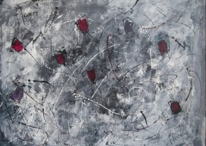"Large flooers, 33"" x 40""  £450"