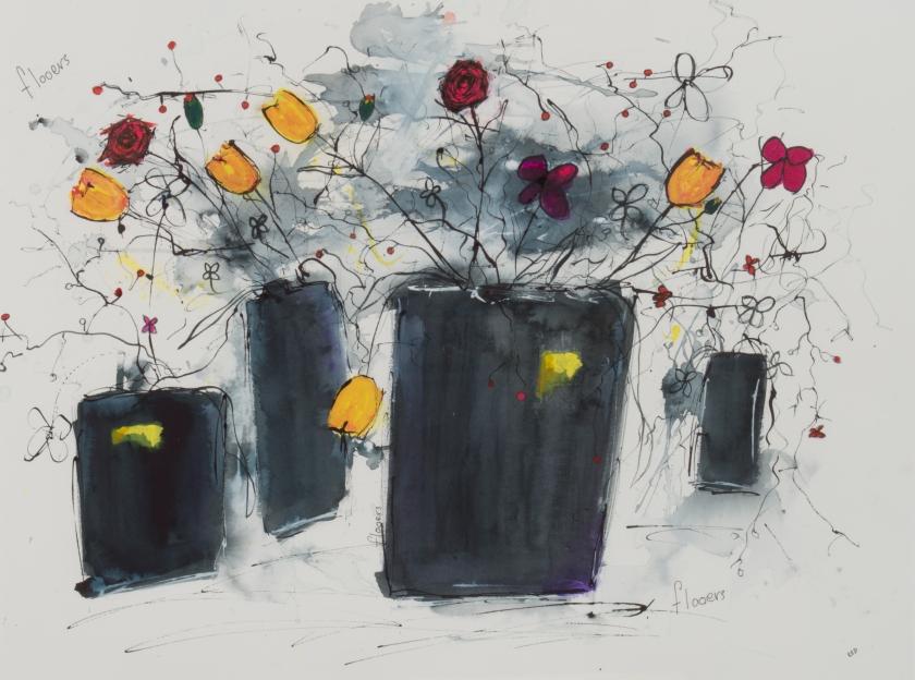 black vases wi flooers